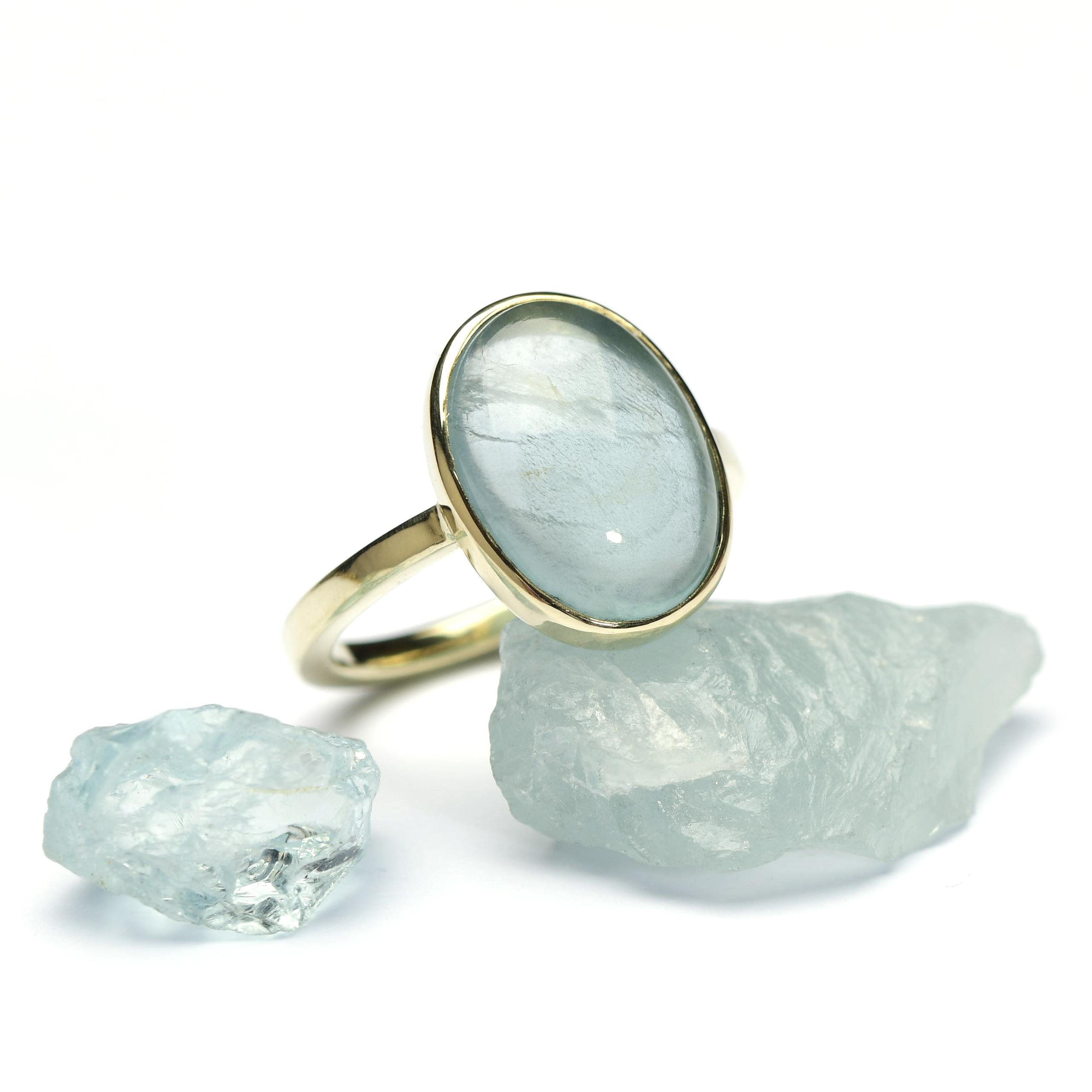 goud ring aquamarijn