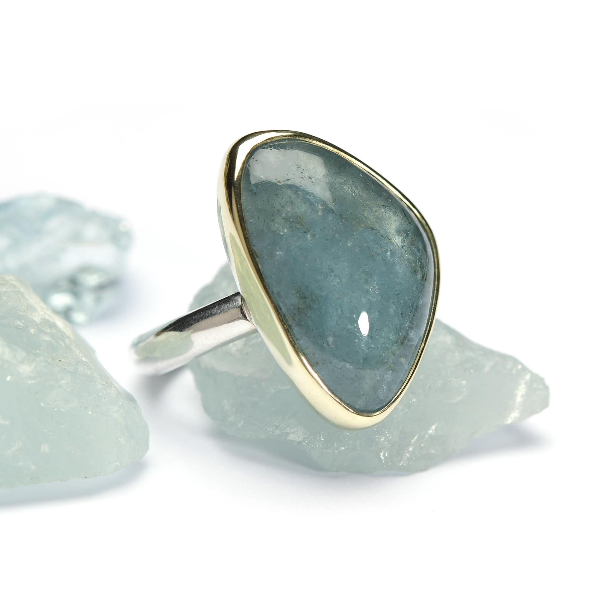 aquamarijn ring goud zilver