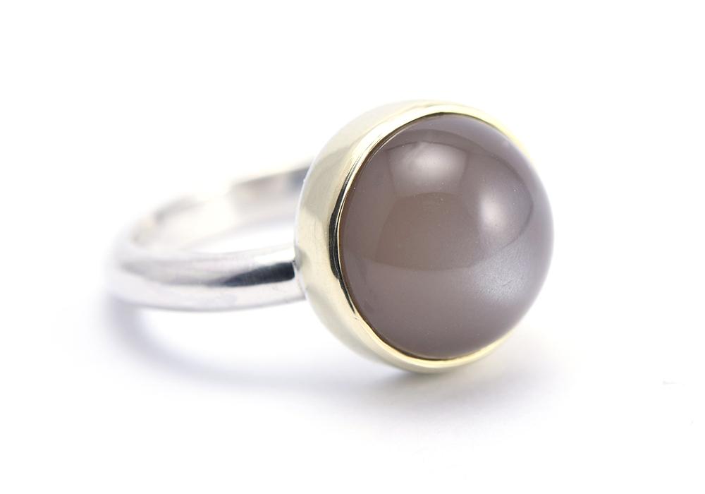 Ring zilver&goud MAANSTEEN