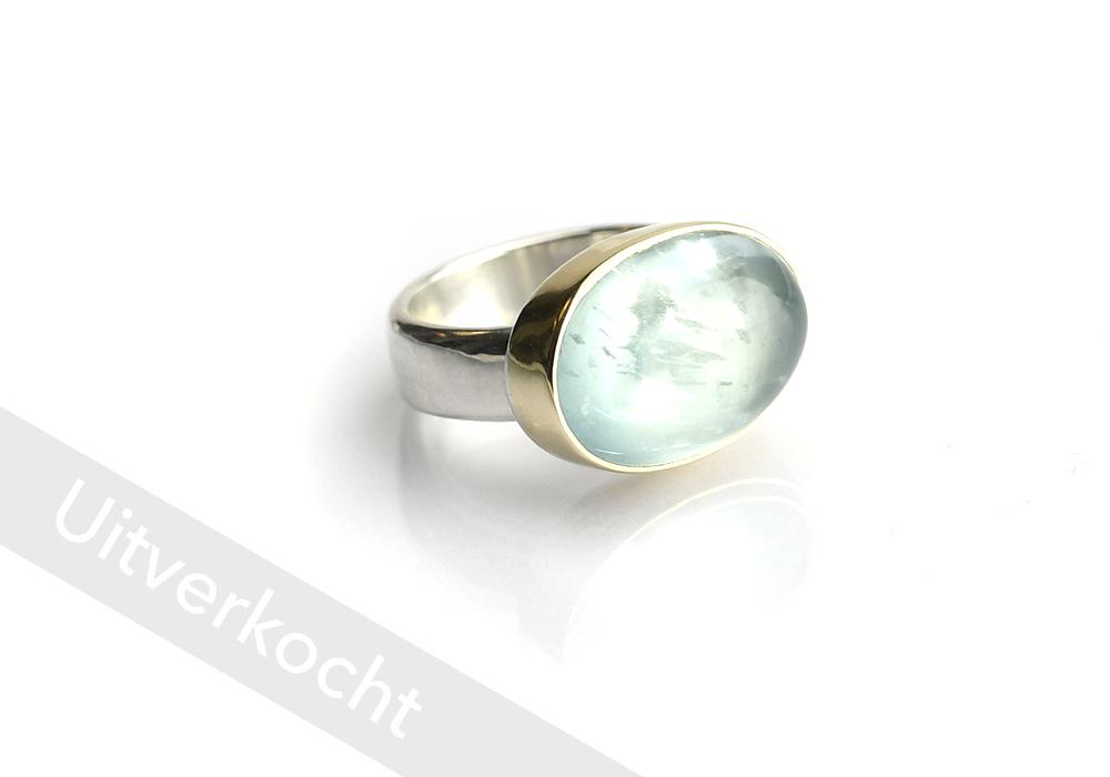 Ring goud&zilver ovale AQUAMARIJN