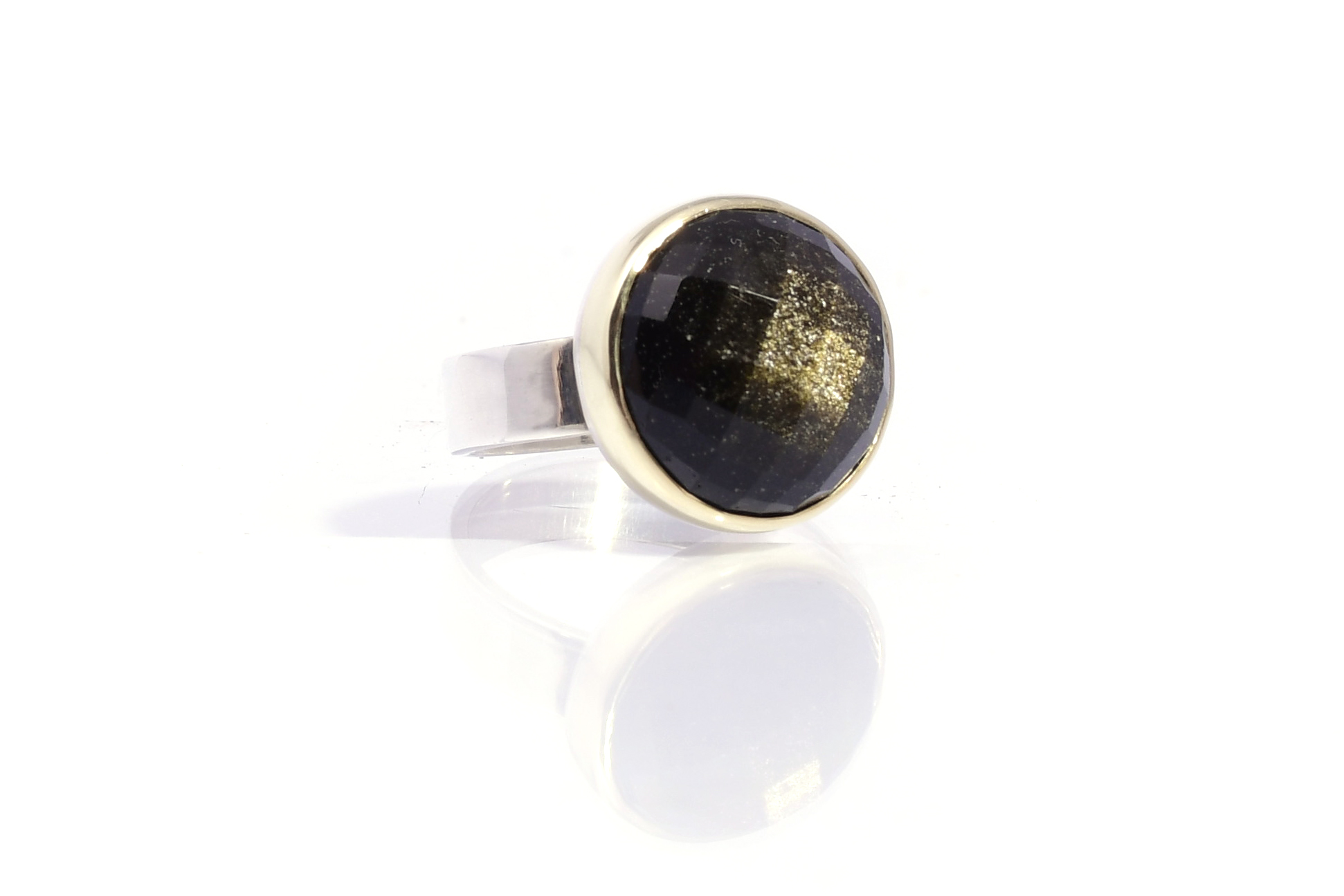 Ring GOLD & SIVER GOUD OBSIDIAAN