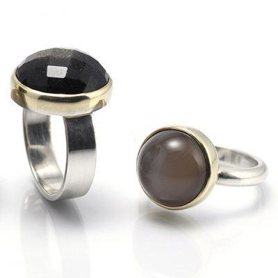 maansteen ring zilver goud