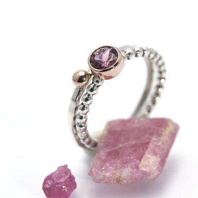 rubeliet ring ringenset rosegoud zilver