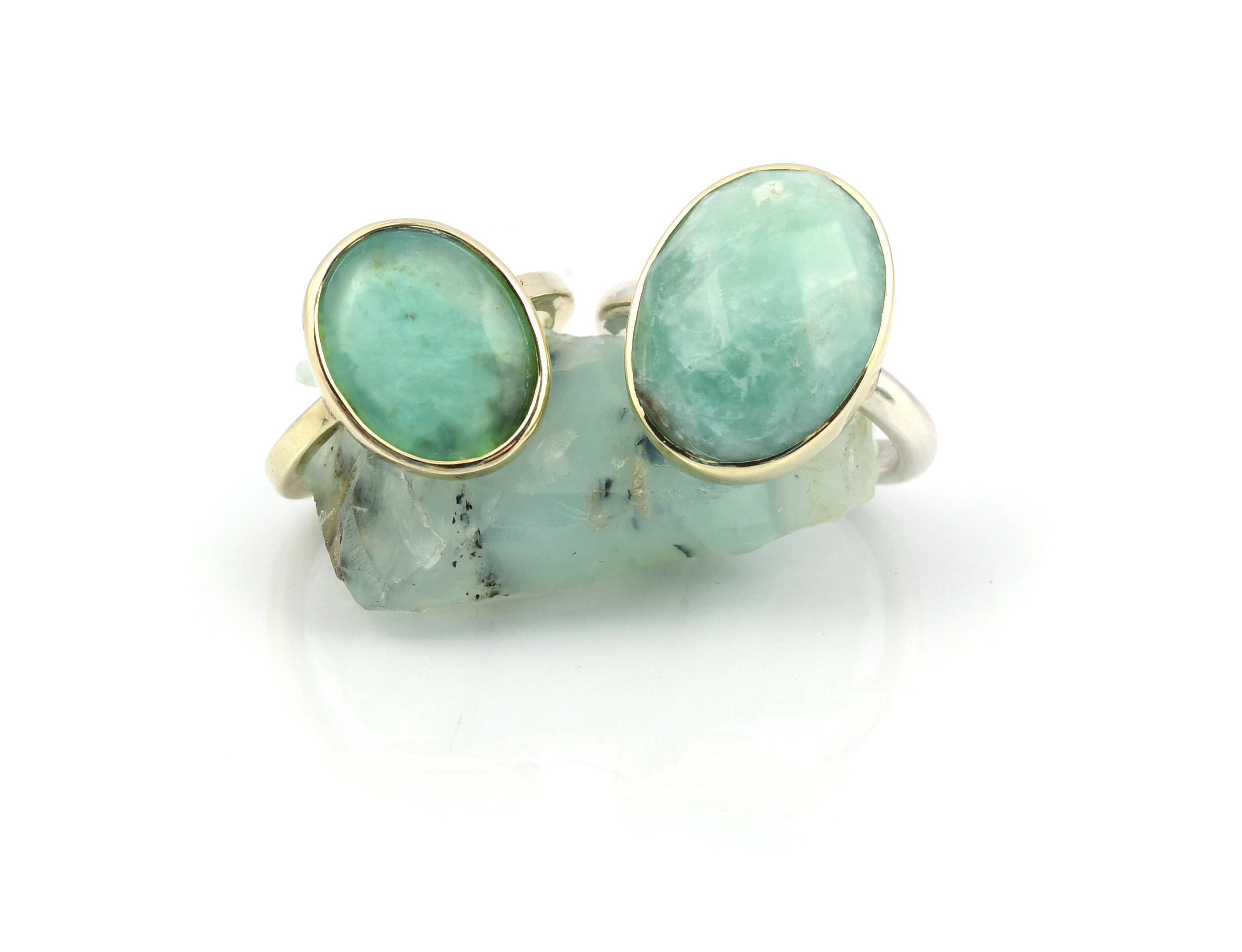 Ring GOUD Blauwe Andes Opaal