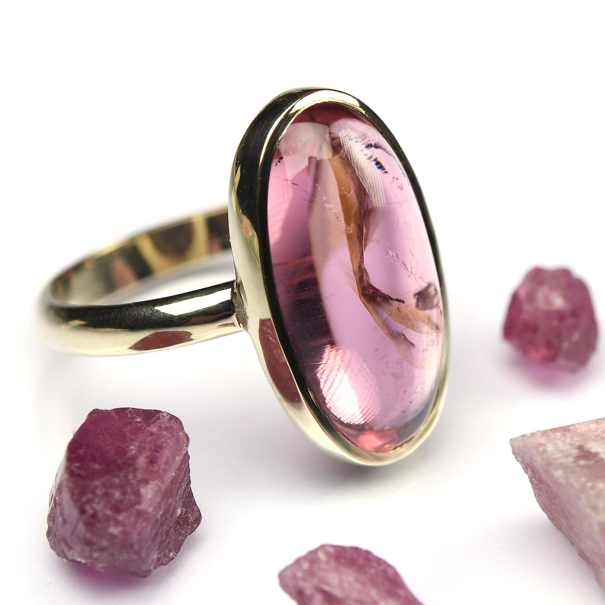 rubeliet roze toermalijn goud ring