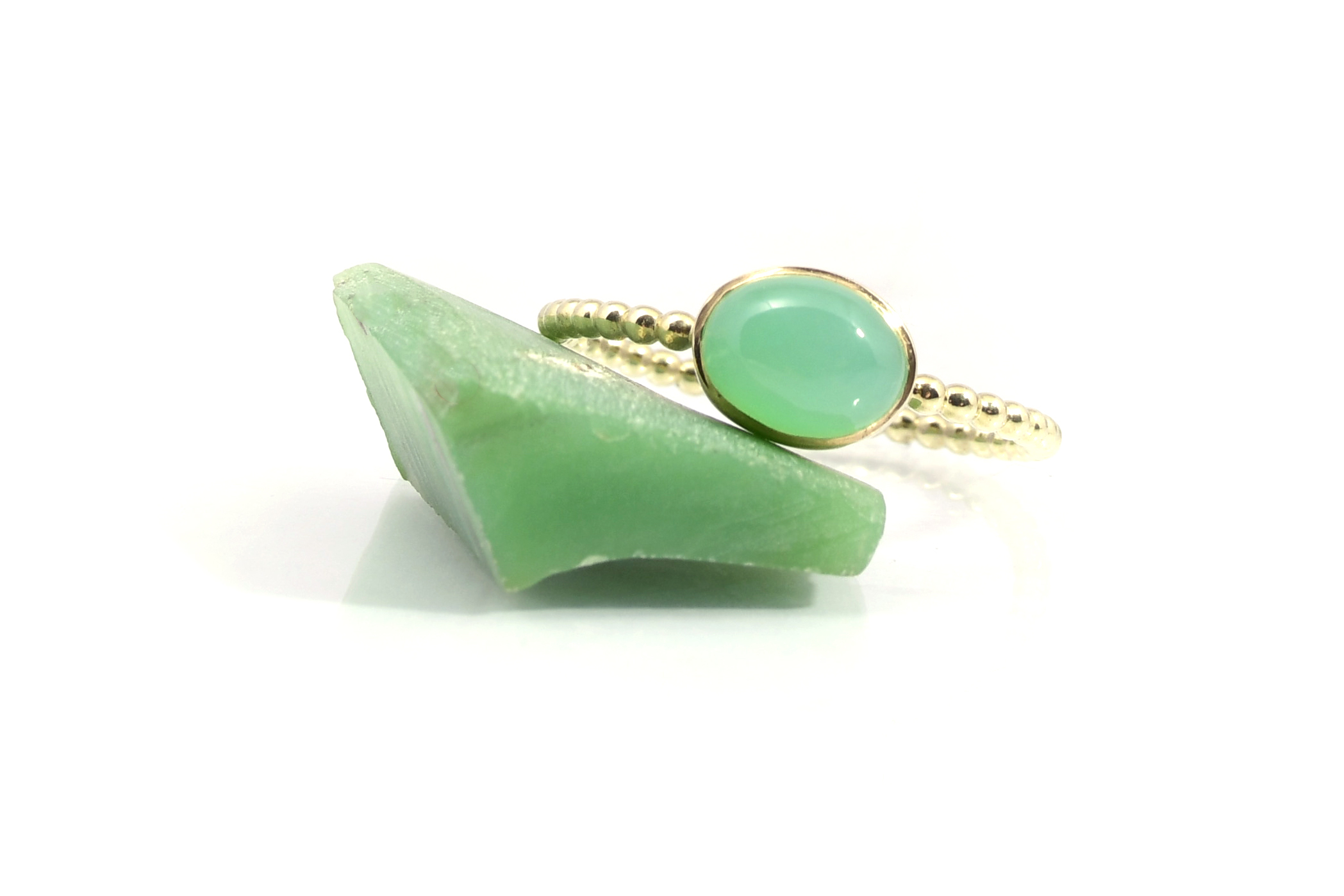 Ring Tiny Goud CHRYSOPRAAS