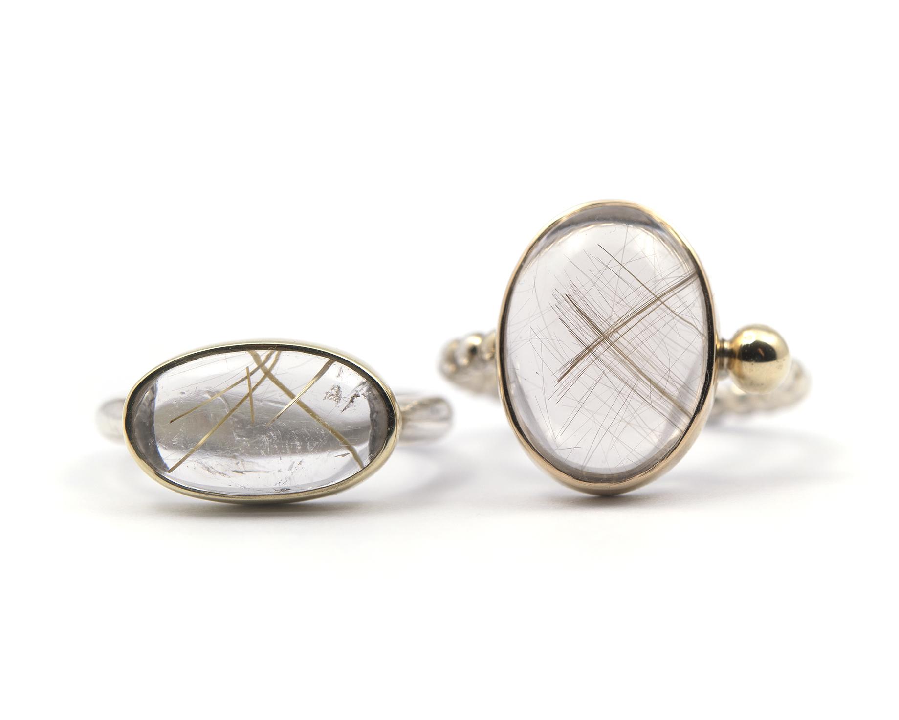 Ring Zilver & Goud RUTIELKWARTS dwars