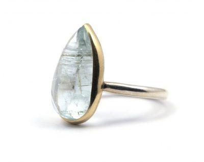 Ring Goud & Zilver Aquamarijn Druppel