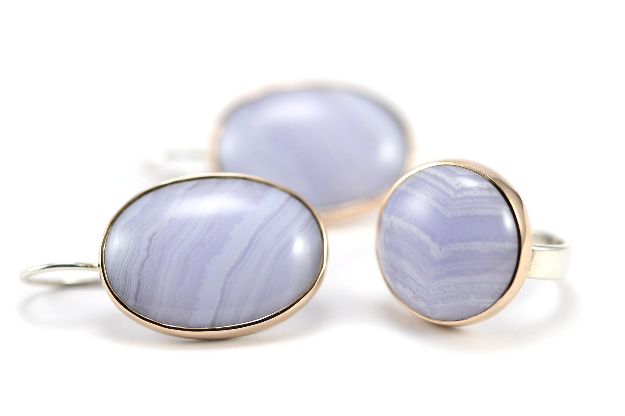 Caelesti ring zilver & roségoud CHALCEDOON rond