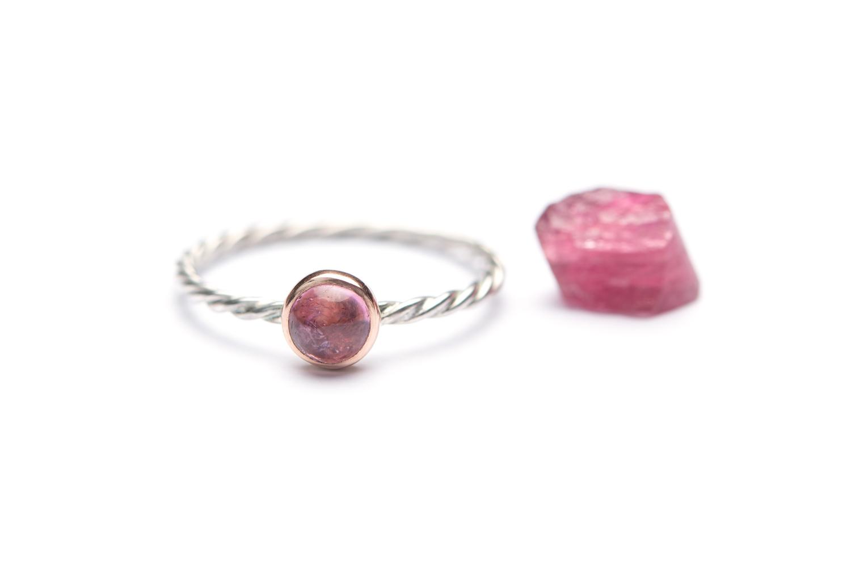 Stapel ringetje DIVINE FEMININE zilver & roodgoud petite Roze Toermalijn