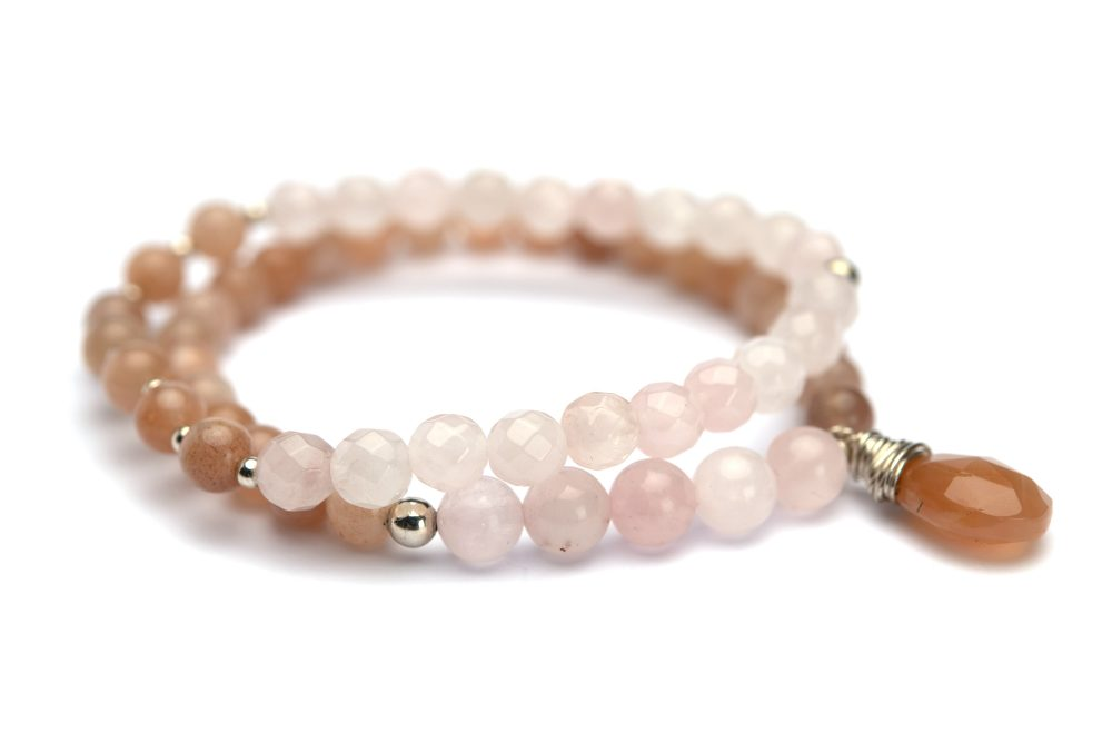 armbanden rozenkwarts maansteen