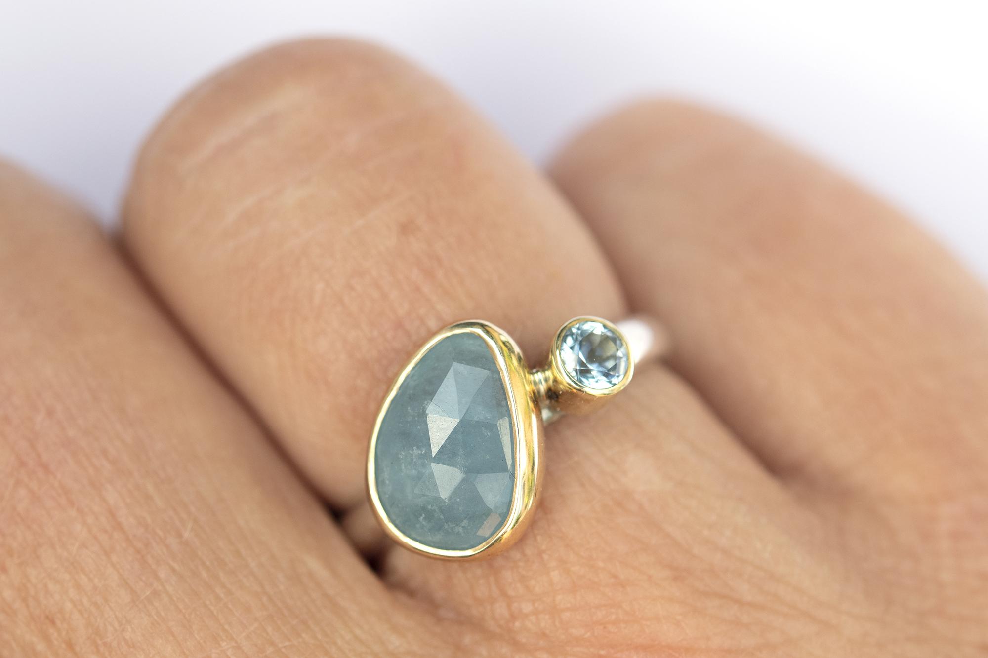 Ring Aquamarijn en Blauwe Topaas goud & zilver